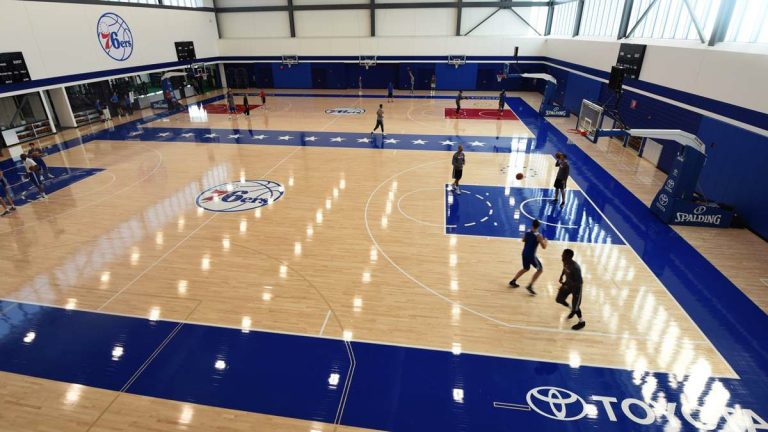 The Philadelphia 76ers received a state tax credit to build a new practice facility in Camden, New Jersey.  (Photo by April Saul)