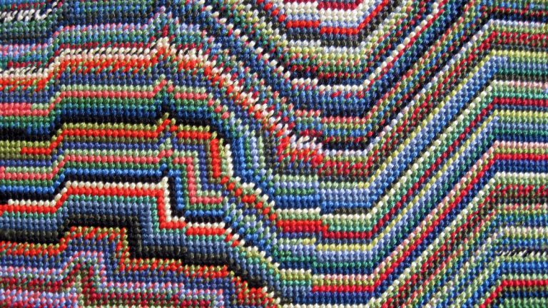 This image shows a detail from a needlepoint work by Mary Smull on display at the Rebekah Templeton gallery in Philadelphia. (Image courtesy of Mary Smull)