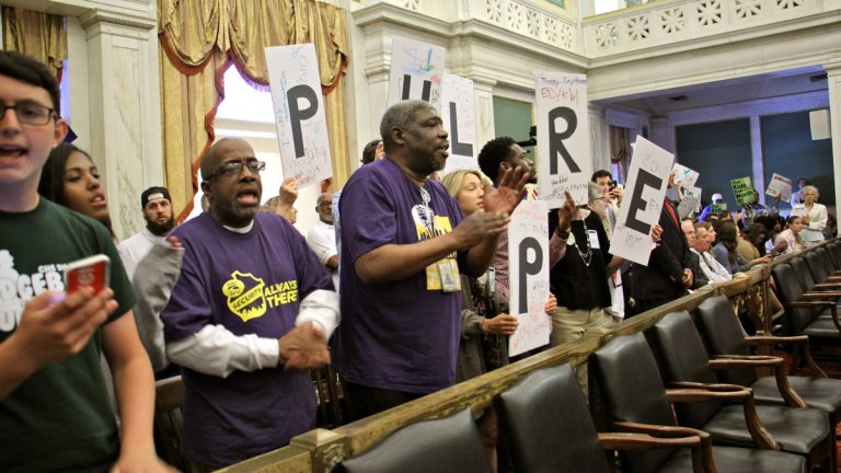 Supporters and foes of the drink tax in Philadelphia fill Council Chambers during a Wednesday hearing at City Hall. (Emma Lee/WHYY)