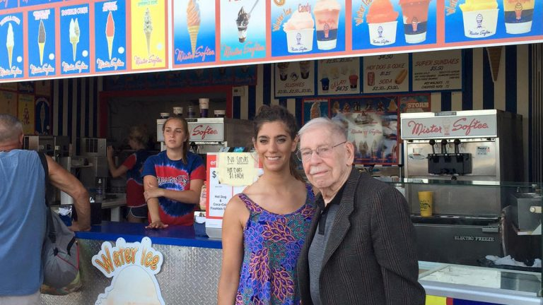 Les Waas is shown with his granddaughter Jennifer at a Mister Softee stand in Ocean City, New Jersey. (Michael Shunfenthal)