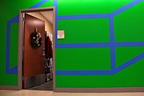 <p>Adapted for a hallway at Einstein Medical Center in Montgomery, a work by Sol LeWitt makes its way around necessary doorways. (Emma Lee/for NewsWorks)</p>