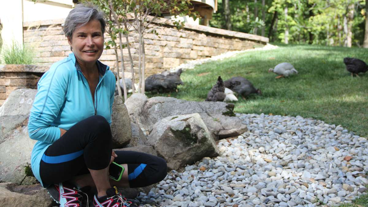 Homeowner Alice De Tiberge keeps chickens and guinea fowl and sees herself as a steward of the land. (Emma Lee/WHYY)