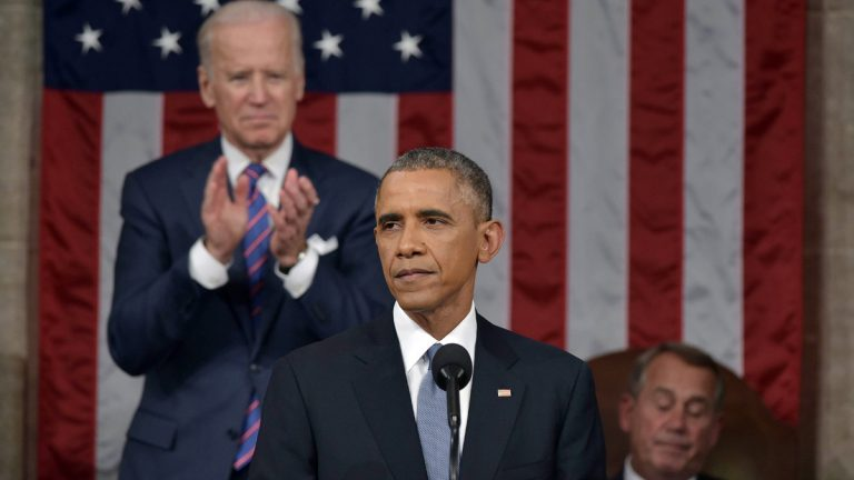 President Barack Obama delivers his State of the Union address to a joint session of Congress on Capitol Hill on Tuesday, Jan. 20, 2015, in Washington, as Vice President Joe Biden applauds and House Speaker John Boehner of Ohio listens. (AP Photo/Mandel Ngan, Pool)