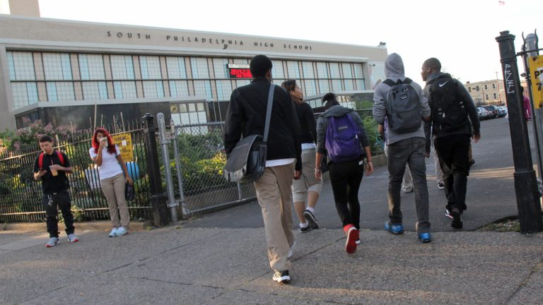 Students enter South Philadelphia High School on the first day of class Monday, Sept. 9, 2013.  (Kimberly Paynter/WHYY)