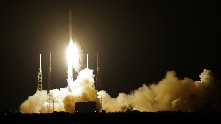 The Falcon 9 SpaceX rocket lifts off from Space Launch Complex 40 at the Cape Canaveral Air Force Station in Cape Canaveral, Fla., Saturday. SpaceX is on a resupply mission to the International Space Station. (AP Photo/John Raoux)