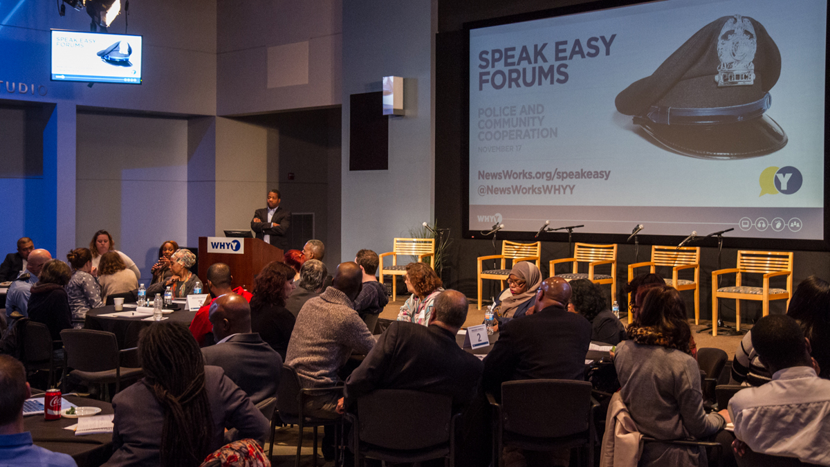 Neighbors from across Philadelphia attended a community policing forum at WHYY on Nov. 17.