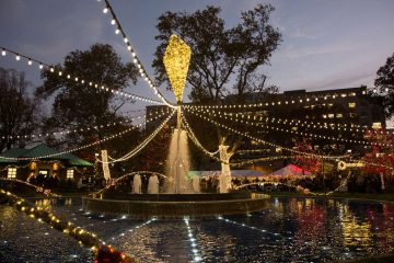 The Franklin Square Electrical Light Spectacle is presented by PECO. More than 50,000 lights dance to holiday music performed by The Philly Pops.