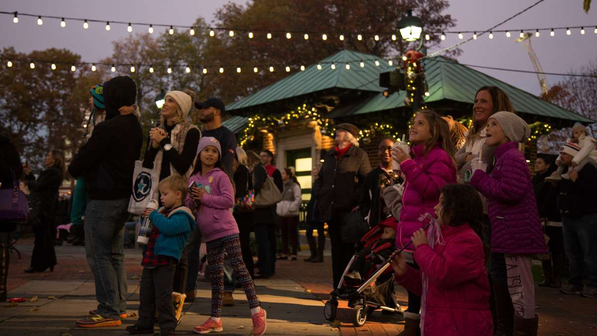 Families gaze upon the first light show of the season at Franklin Square Park during its annual holiday festival, running November 10 through December 31.