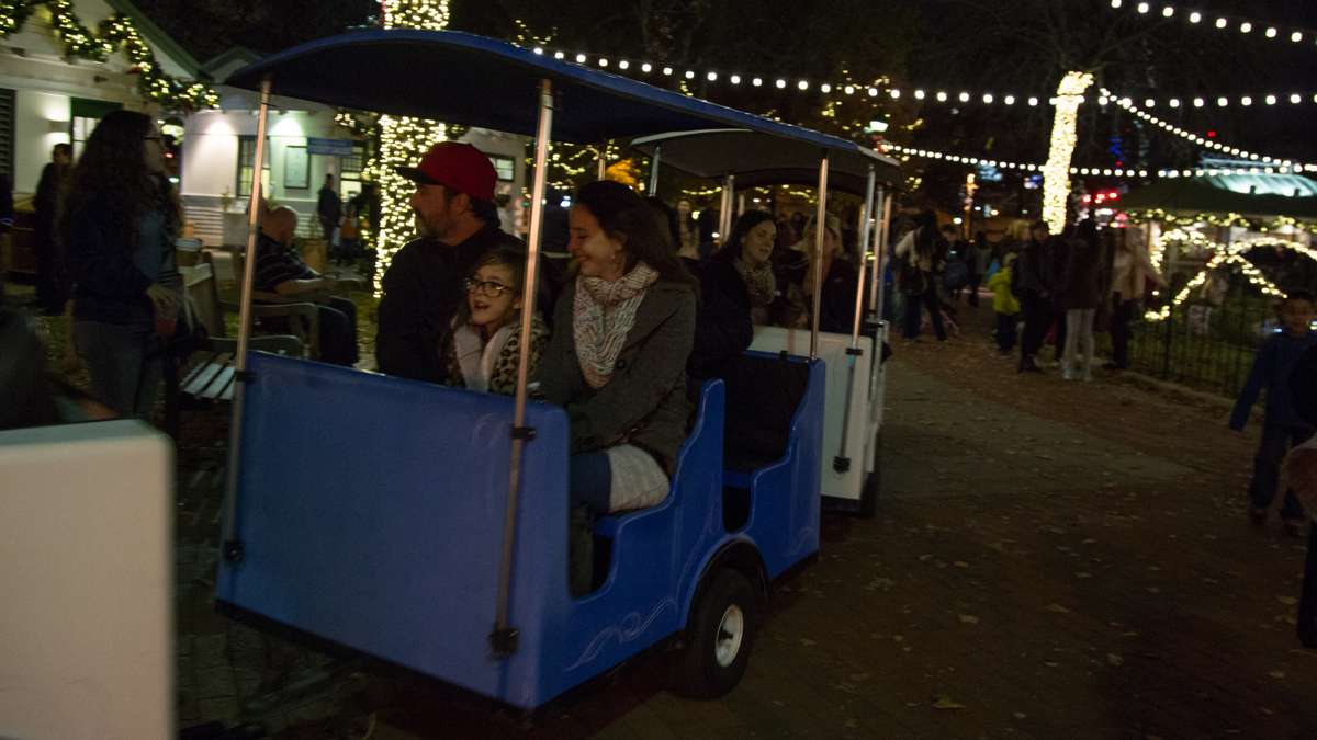 Families can take a small train ride around the sqaure during the Franklin Square Holiday and Light Festival.