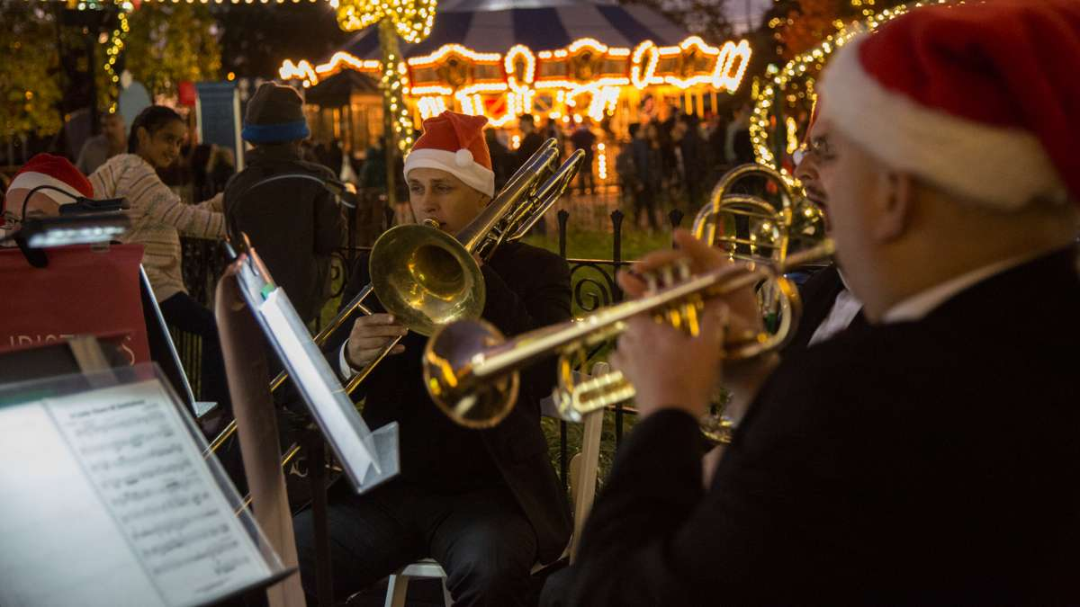 The Philly Pops provide the night's soundtrack of holiday music as Franklin Square rounds out its 10th aniversary with its annual Holiday and Light Festivals in Philadelphia.