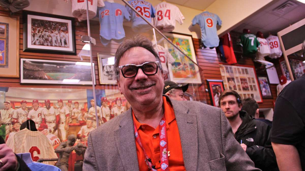 Dr. Nicholas DePace grins as his museum fills with fans and well-wishers on opening night. (Emma Lee/WHYY)