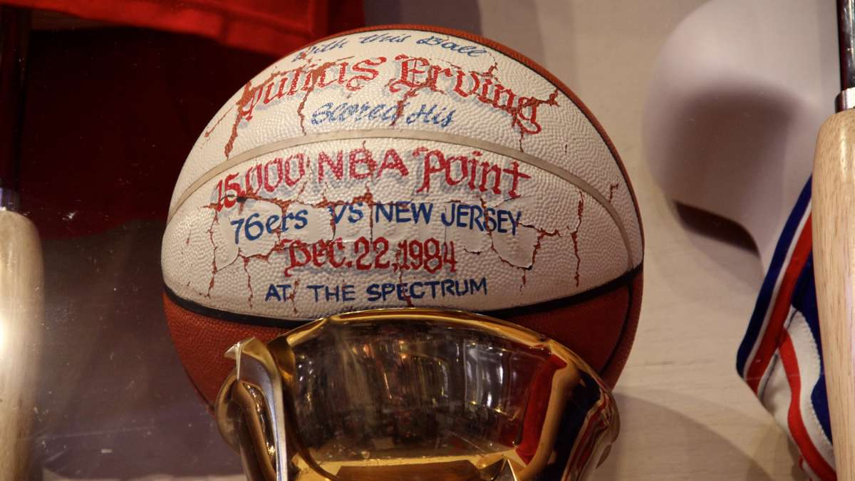 The ball Julius Erving used to score his 15,000th NBA point. (Emma Lee/WHYY)