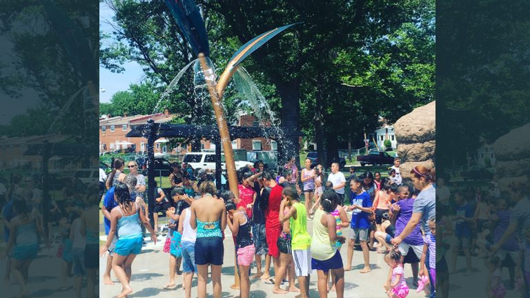 The newly opened Von Nieda Park Sprayground, the first of its kind located in Camden's Cramer Hill neighborhood, is nature-themed, featuring a showering tree branch, a rock archway with sprays, spray jets that pop up from the ground like buds, a rain garden that captures, infiltrates and treats the sprayground's water, and educational signage. (Photo provided)