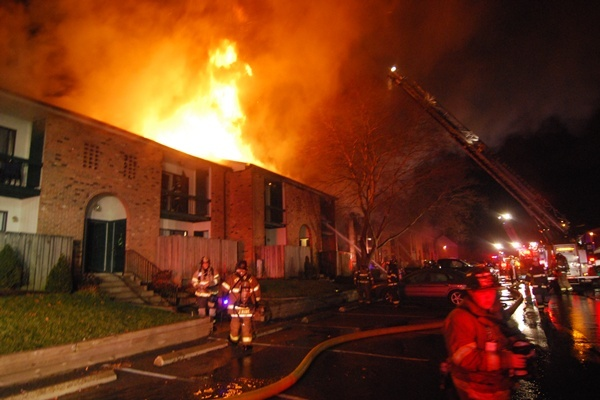 <p><p>One person was injured in the fire that damaged several units. (John Jankowksi/for NewsWorks)</p></p>