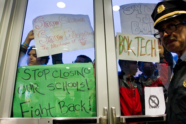 <p><p>Police did not immediately let students and parents into the Piladelphia School District headquarters Thursday night, leaving many uncertain of whether they would be able to sit in on the SRC meeting. (Brad Larrison/for NewsWorks)</p></p>