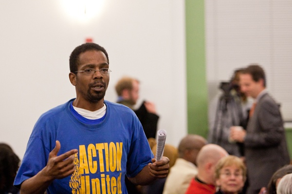 <p><p>Marvin Robinson, a coordinator with Action United in West Philadelphia, speaks to students and parents before the SRC meeting Thursday. (Brad Larrison/for NewsWorks)</p></p>