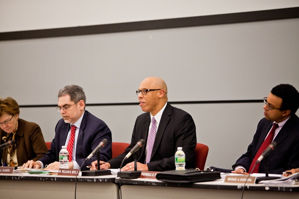 <p><p>Philadelphia Public School Superintendent William Hite makes an opening statement at the School Reform Commission meeeting Thursday night. (Brad Larrison/for NewsWorks)</p></p>