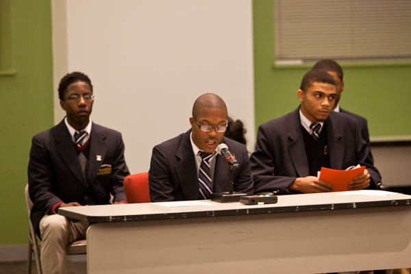 <p><p>Christian Warrick, a senior at University City High School, and four of his classmates took turns addressing the SRC Thursday making a case for the school, one of 37 proposed for closure at the end of the school year. (Brad Larrison/for NewsWorks)</p></p>
