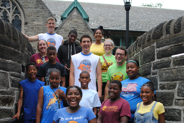 A group of fifth and sixth graders pose for a photo before a two-day school camping trip in July. (Photo courtesy of St. James School)