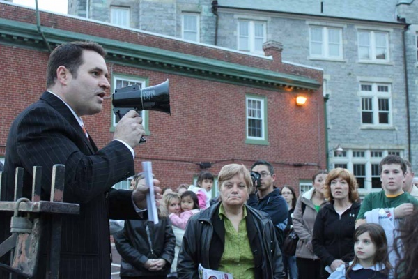 <p><p>31. Sean Stevens rallies the crowd protesting the closing of St. Bridget School in East Falls. (Matthew Grady/for NewsWorks)</p></p>
