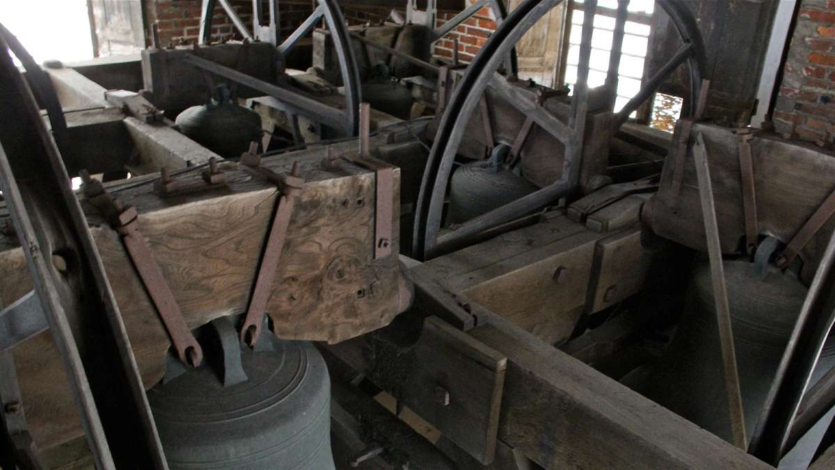 St. Peter's eight bells are fixed at the top of the tower and rung by ropes from below. (Emma Lee/for NewsWorks)