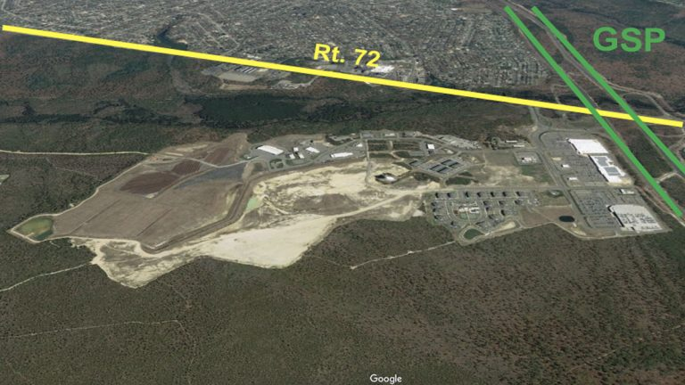 This is the site of of Stafford's former landfills and on the right is big box stores. (Google Earth)