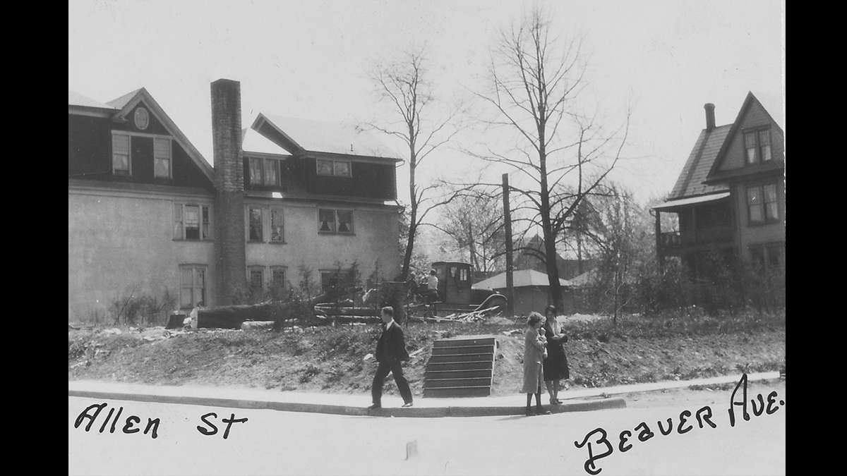 Debris of a building and tree shown on an empty lot at the intersection of Beaver Ave and Allen Street in downtown State College circa 1930. (Image courtesy of the Centre County Historical Society)
