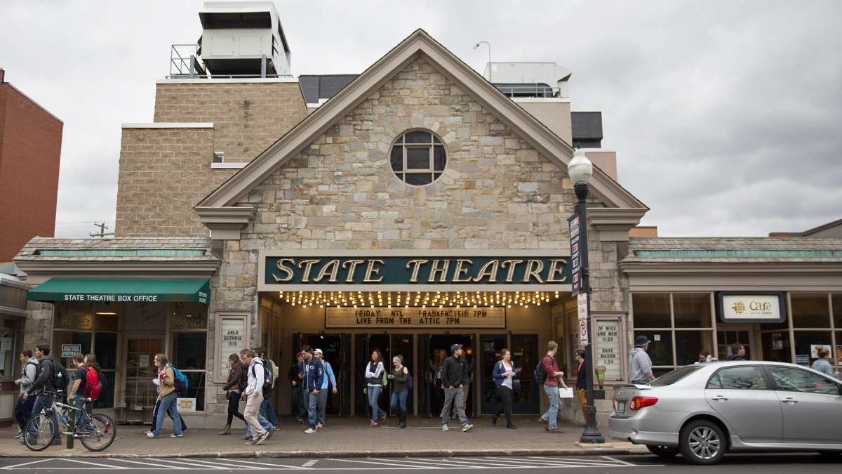 Students exit The State Theater after a matinee show. The theater closed for five years and was reopened after renovations in 2006 as a community performance venue. (Lindsay Lazarski/WHYY)