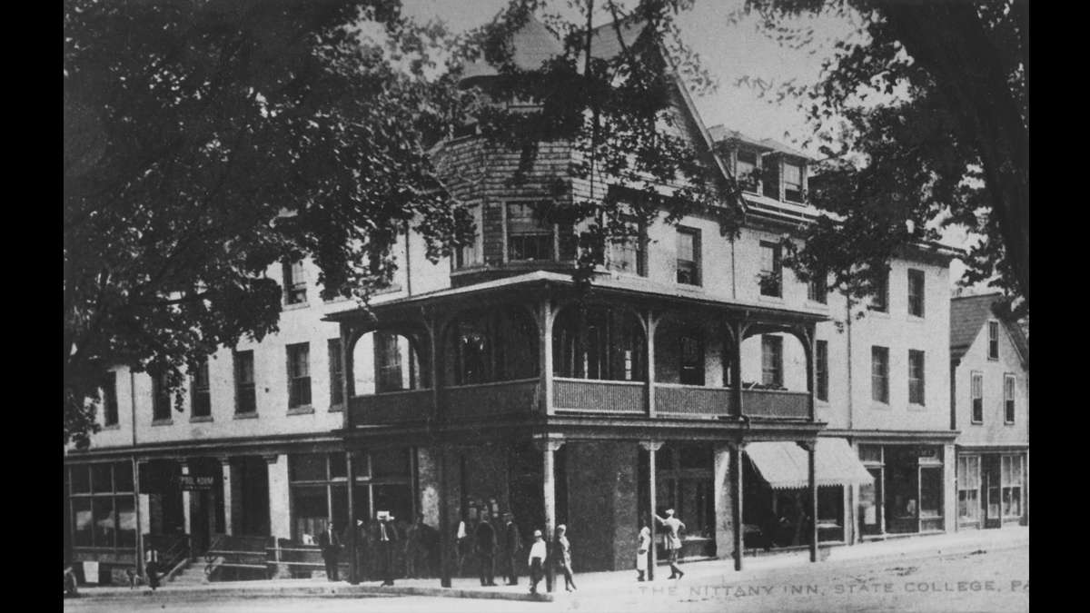 A group gathers outside of The Nittany Inn, later known as Hotel State College in downtown State College, on the corner of College Avenue and S. Allen Street, circa 1912. (Image courtesy of the Centre County Historical Society)
