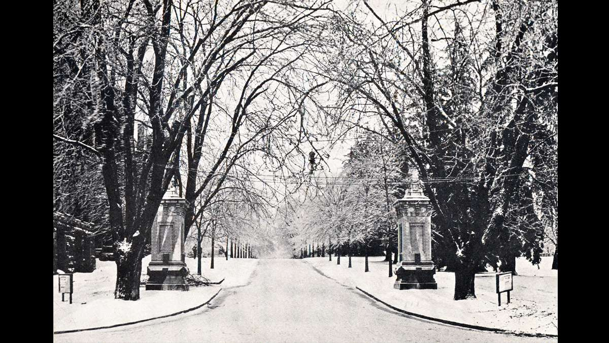 One of the entrances to Penn State campus in the winter of 1912. (Image courtesy of the Centre County Historical Society)