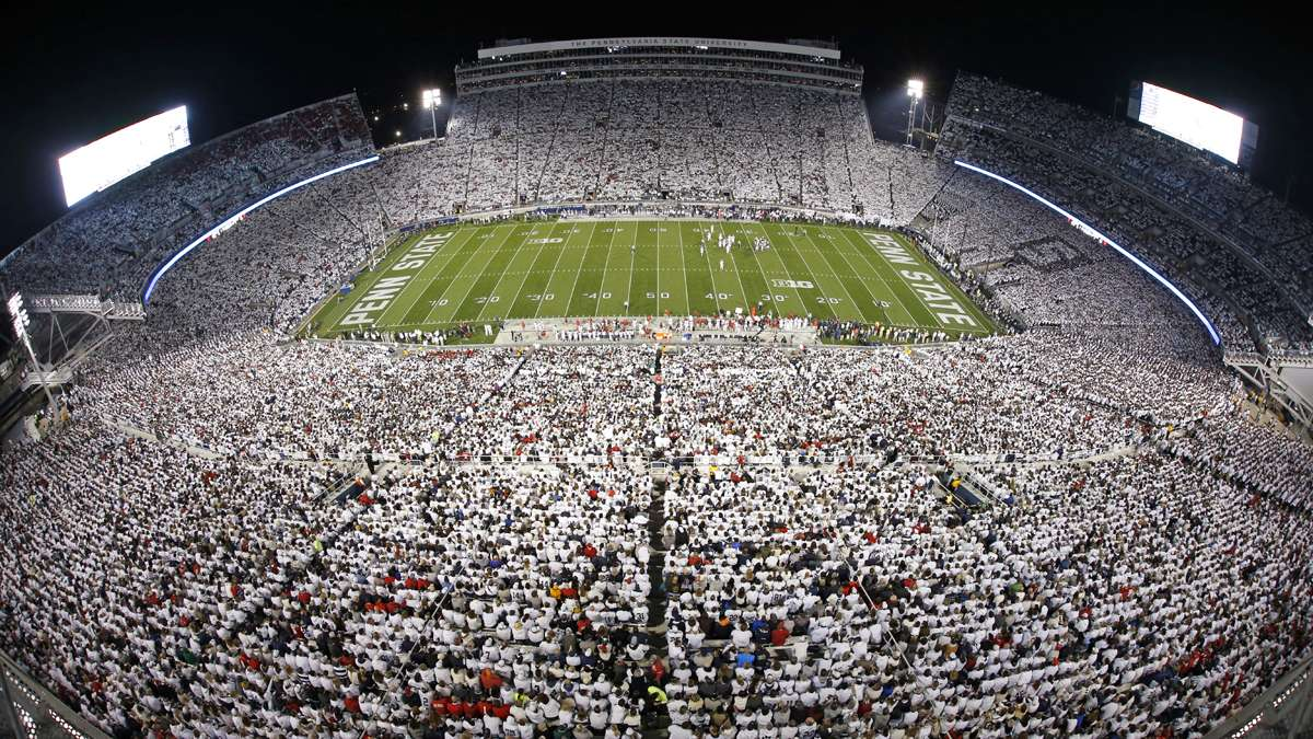 A sellout crowd wears mostly white, as part of a 'white-out' during a recent football game between Penn State and Ohio State at Beaver Stadium. (AP Photo/Gene J. Puskar)
