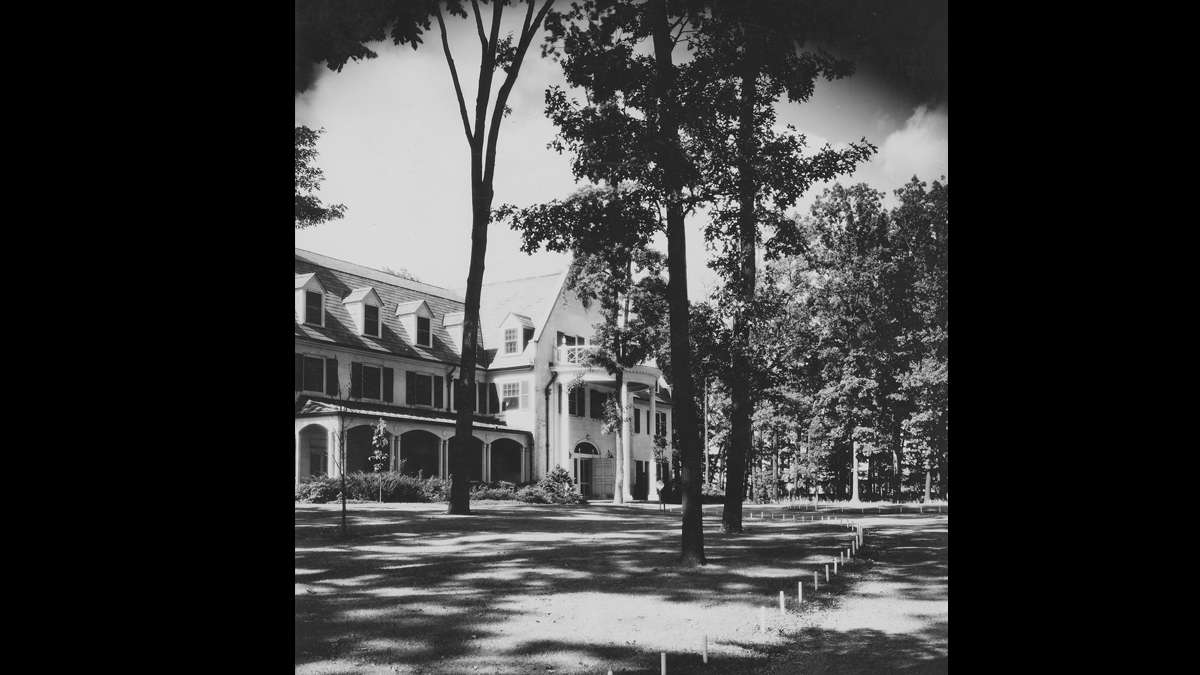 Front entrance to Nittany Lion Inn on Penn State campus. (Image courtesy of the Centre County Historical Society)