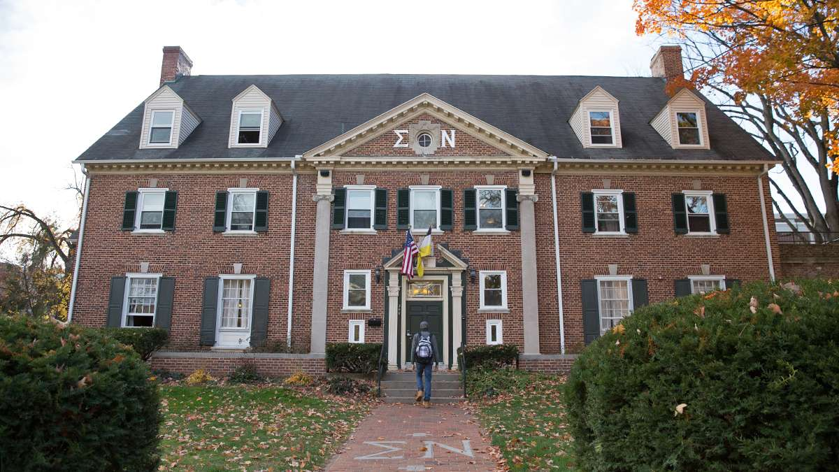 The local chapter of Sigma Nu on Burrows Street was founded in 1909. (Lindsay Lazarski/WHYY)