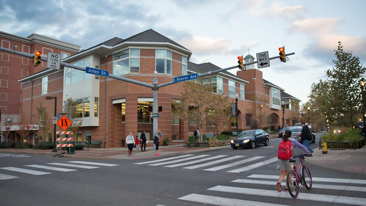 State College's Schlow Centre Region Library on the corner of Beaver Avenue and Allen Street. (Lindsay Lazarski/WHYY)