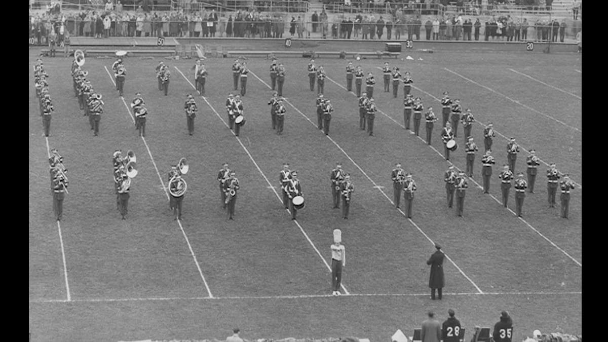 Penn State's Blue Band performs in 1949. (Image courtesy of the Penn State University Archives)