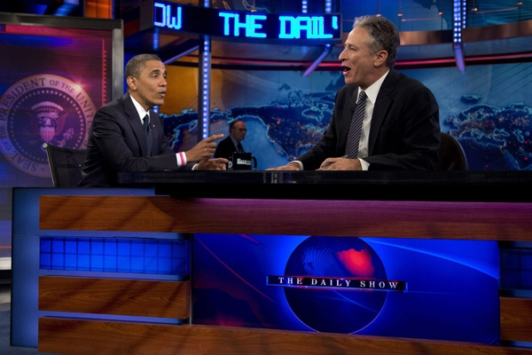 """<p>President Barack Obama talks with Jon Stewart during a taping of his appearance on """"The Daily Show with John Stewart"""", Thursday, Oct. 18, 2012, in New York. (AP Photo/Carolyn Kaster)</p>"""