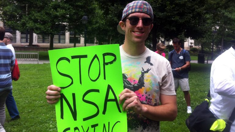 Michael McGrath from Trenton, N.J., participates in a protest against the NSA near  Independence Mall on Thursday. (Meg Frankowski/for NewsWorks)