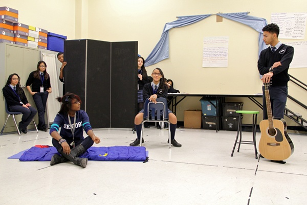 <p>Kathleen Gaynor's acting class at Mariana Bracetti Academy Charter has students performing each other's work, an exercise in empathy. (Emma Lee/for NewsWorks)</p>