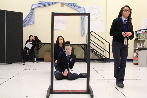 <p>Students, from right, Jennifer Melendez, Natalie Morales, and Samary Malave act out a vignette about body image as part of their Scene Work and Improvisation class at Mariana Bracetti Academy Charter school. (Emma Lee/for NewsWorks)</p>