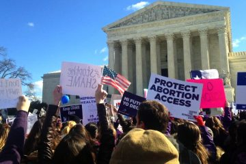 Demonstrators gather while the U.S. Supreme Court hears arguments in a Texas abortion case which could have a ripple effect in Pennsylvania. (Photo via Women's Law Project)