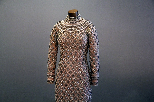 <p>A beaded dress worn when The Supremes met the Queen Mother of England in 1968 weighed about 30 pounds. (Emma Lee/for NewsWorks)</p>