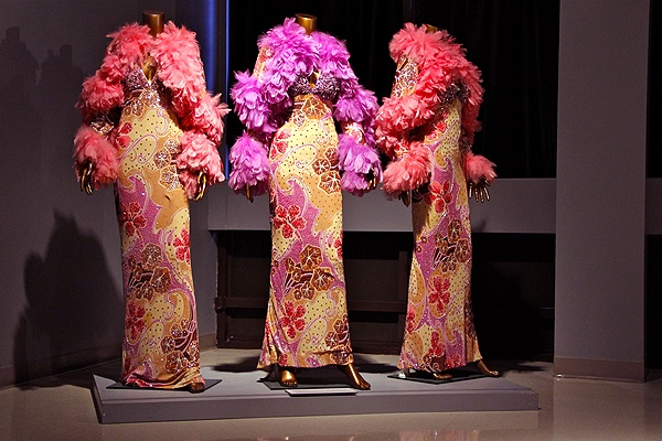 "<p>These gowns, called Tropical Lilac, appeared on the record sleeve of the single ""Automatically Sunshine. (Emma Lee/for NewsWorks)</p>"