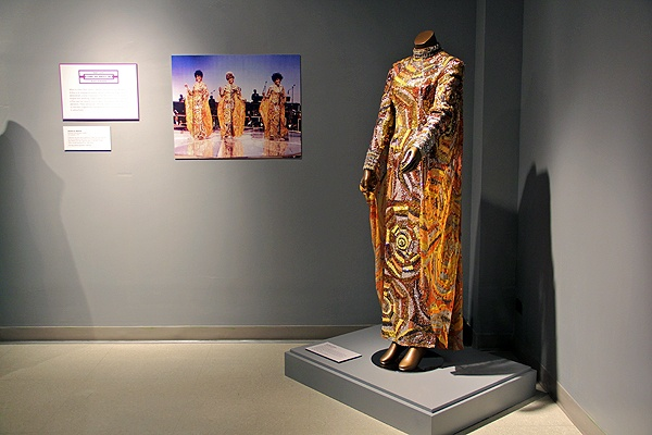 <p>Called butterfly gowns because of the large winglike capes attached to the arms, these are among the most recognized costumes of The Supremes. This one was designed by Michael Travis in 1968. (Emma Lee/for NewsWorks)</p>