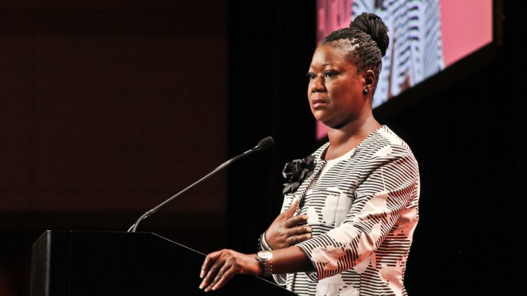 Sybrina Fulton, mother of Trayvon Martin, addresses the National Urban League in Philadelphia on Friday afternoon. (Kimberly Paynter/WHYY)
