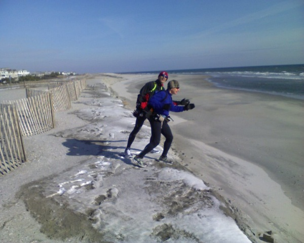 A beach erosion caused a 10-foot drop off of the dune, which is why the beach was closed on the day of the race last year. (Photo courtesy of Steve Antczak)