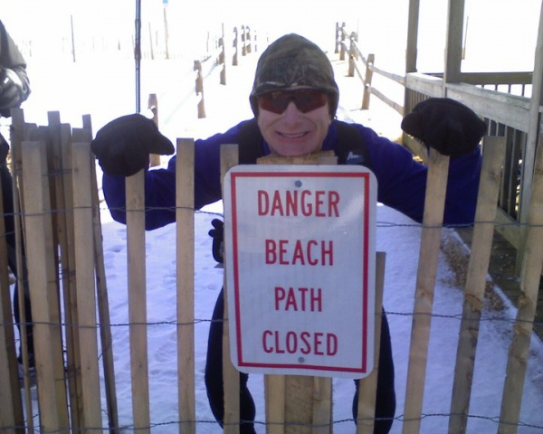 With the beach closed at the end of the Avalon boardwalk, Steve Antczak says his group hopped the fence. The course includes about a mile of beach at the north end of Avalon. (Photo courtesy of Steve Antczak)