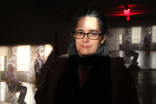 """<p>Tacita Dean at the Fabric Workshop and Museum, where she is completing an installation: six films, running simultaneously of Merce Cunningham performing """"Stillness."""" (Emma Lee/for NewsWorks)</p>"""