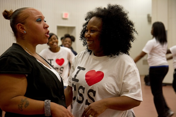 <p><p>Daniece Matthews, a parent and member of the Camden Sophisticated Sisters, said the drill team is a great way to get exercise. (Lindsay Lazarski/WHYY)</p></p>
