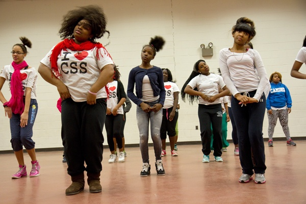 """<p>The Camden Sophisticated Sisters practice a dance routine for an upcoming performance called """"Love Changes Everything."""" (Lindsay Lazarski/WHYY)</p>"""