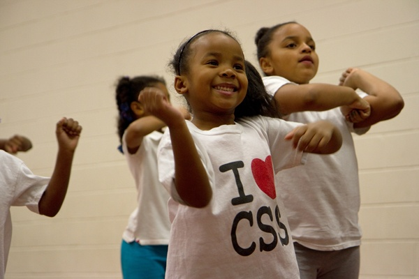 <p>Tyyannah Smith, 6, rehearses for an upcoming performance with the Camden Sophisticated Sisters.  (Lindsay Lazarski/WHYY)</p>